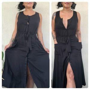 ROKOKO😘Long Black Button Dress